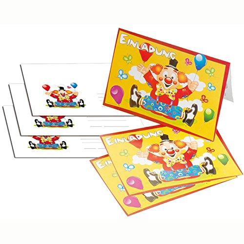 NEU Einladungskarten Clown mit Ballons, 8 Stk. (Zirkus-party-einladungen)