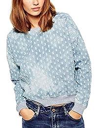 BININBOX® Mädchen Damen Retro Loch Pullover locker Langarm Tops T-Shirt Herbst Rundhals langarmshirts Sweatjacke hellblauen