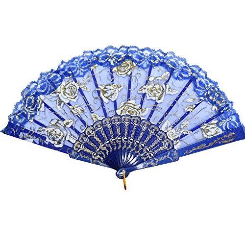 Hand Fan Fächer Sommer Party Hochzeit Hand Fan aus Kunststoff und Spitze Blau ()