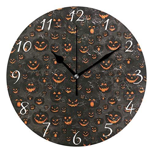 Ahomy Runde Wanduhr Halloween Jack-O'-Lantern Home Art Decor Antiticking Ziffern Uhr für Home Office (Niedliche Halloween-jack O Lanterns)