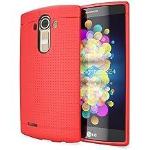 LG G4 Funda Carcasa de NICA, Protectora Movil TPU Silicona Fina Mesh Bumper Estuche con Puntos, Goma Gel Cubierta Cobertura Delgado Dot Cover Smartphone Case para Telefono LG G-4 - Rojo