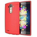 NALIA Handyhülle kompatibel mit LG G4, Ultra-Slim Case Softcover, Dünne Punkte Schutzhülle, perforierte Etui Handy-Tasche Back-Cover Bumper, TPU Smart-Phone Silikonhülle Hülle - Mesh Rot
