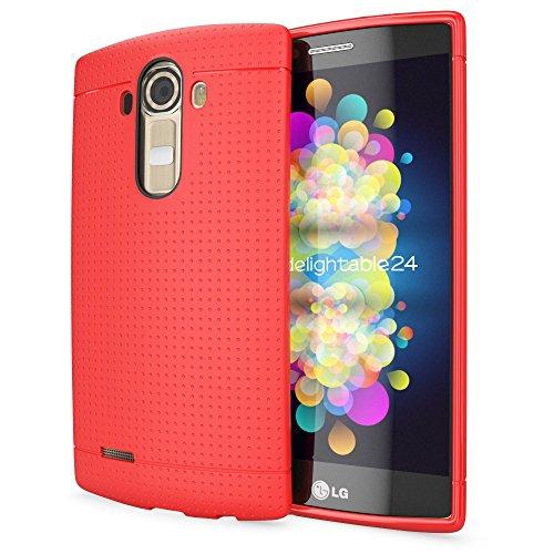 NALIA Handyhülle für LG G4, Ultra-Slim Case Softcover, Dünne Punkte Schutzhülle, perforierte Etui Handy-Tasche Back-Cover Bumper, TPU Silikon-Hülle für LG G-4 Smart-Phone - Mesh Rot