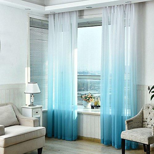 Fssjckx gradiente rampa da appendere alla finestra tenda ombre color sheer curtain tulle finestra trattamento voile drappo mantovana casa decorazione, sky blue, taglia libera