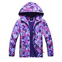 CADong Girls Outdoor Floral Fleece Lined Light Waterproof Windproof Jacket with Hood (Age: 8-9Y, Purple Flower)