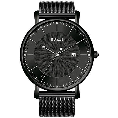 BUREI Unisex Analog Quarz Uhren Ultra Dünn Schwarz Armbanduhr mit Grosse Ziffernblatt Datum Kalender und Milanaise Mesh Band Luxus Einfaches Design Armbanduhr für Mann Frauen