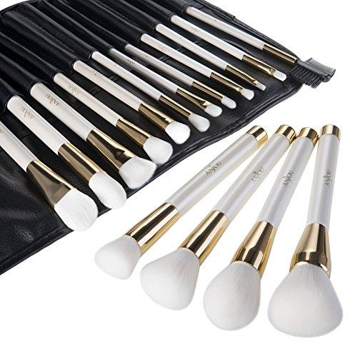 Make Up Pinsel Set, Anjou 16pcs Professionelles Schminkpinsel mit weißem Griff, Lidschatten...