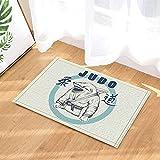 fdswdfg221 Etichetta vettoriale per Judo Decor Shark Practicing Judo Bath Rugs 40X60CM Accessori Tappetino da Bagno