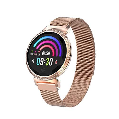Fitness Tracker Smartwatch, MEIbax Lady Orologio Intelligente Braccialetto Fitness Activity Tracker Donna Uomo Bambini Contapassi Calorie (Oro Rosa A, 14mmx120mm)