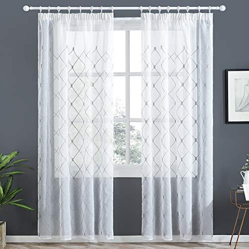 Topfinel Voile Gardinen mit Kräuselband mit Stickerei Kariert Vorhang Schlaufenschal für Wohnzimmer Schlafzimmer 2er Set je 245x140cm(HxB) Grau