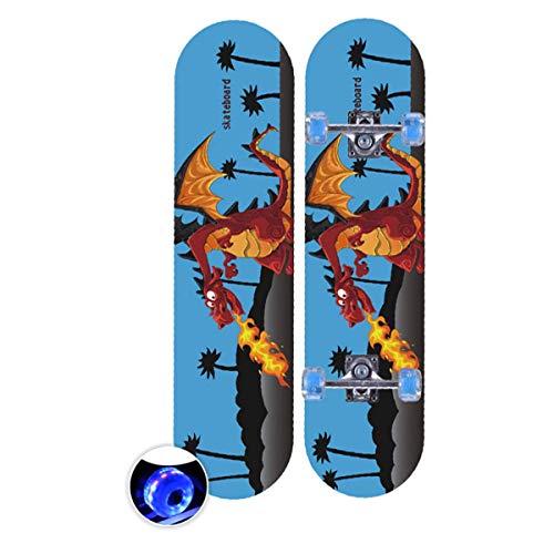 rd Komplett Longboard Double Kick Skateboard Cruiser 8 Lagen Ahorn Deck für Extremsport und Outdoor, 8,72cm ()