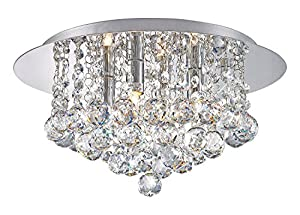 Modern Elegant Round Chandelier Ceiling Light Crystal Droplets Simply Stunning Effect from Long Life Lamp Company