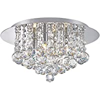 Modern Elegant Round Chandelier Ceiling Light Crystal Droplets Simply Stunning Effect