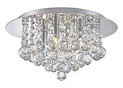 Modern Elegant Round Chandelier Ceiling Light Crystal Droplets Simply Stunning Effect