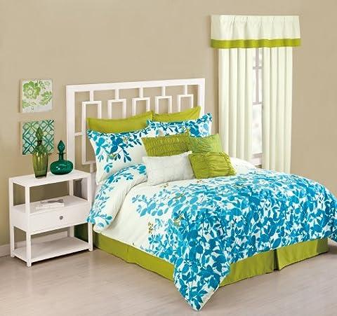 Presidio Square Collection 8-Piece Flourish Comforter Set, King, Sky Blue