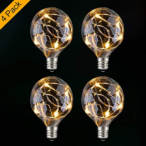 GlobaLink 4 Stück G40 Ersatzbirnen Glühbirne Glühlampe E12 warmweiß für innen und außen Garten -