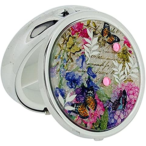 Pill Box placcato argento, motivo: Sweet Pea-Custodia con 7 portapillole per SC1185-The Olivia Collection
