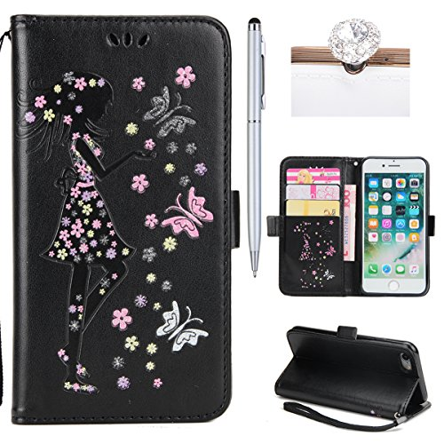 iPhone 7 Coque Dragonne Portefeuille PU Cuir Etui,iPhone 7 Coque Ultra Fine,iPhone 7 Etui Cuir Folio Housse PU Leather Case Wallet Flip Protective Cover Etui [PU Cuir et TPU Silicone Inner Case] Porte Fille Noir