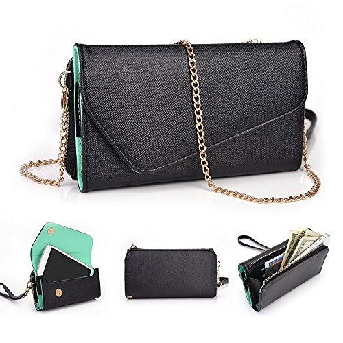 Kroo d'embrayage portefeuille avec dragonne et sangle bandoulière pour HTC Desire 310 Noir/gris Black and Green