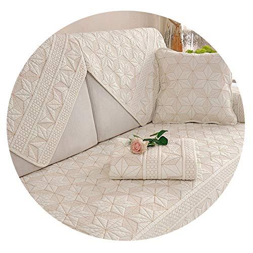 Sommergrau Pentagramm gesteppt Sofabezug Baumwolle Möbelbezüge Schonbezüge für Wohnzimmer Canape Sofa Protector, Beige White Per Pic, 90cm180cm