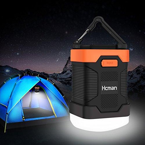 Preisvergleich Produktbild hcman Tragbare wiederaufladbare LED-Camping Laterne, 200Lumen IP65Wasserdicht & 10000mAh Tragbares Ladegerät Power Bank für iPhone, Samsung und mehr