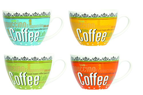 Novastyl 5186083 Lot de 6 Jumbos Café du Monde Porcelaine Multicolore 40 cl