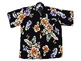 Ontop-Fashion Hawaiihemd Hawai Freizeit Hemd Shirt Viskose schwarz Hibiskus groß orange, Größe:S