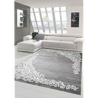 Moderner Teppich Designer Teppich Orientteppich Mit Glitzergarn Wohnzimmer  Teppich Mit Floral Muster Meliert In Grau Creme