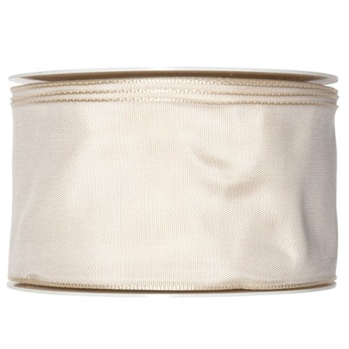FloristryWarehouse Geschenkband Taft-Satin, 60 mm x 25 m, Ivory Cream Taft Satin