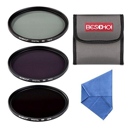 Beschoi 58MM ND2 ND4 y ND8 Filtro de Densidad Neutra ND Set Accesorios de cámara Filtro de Densidad Neutra + Filtro de Lente de Microfibra Gamuza de Limpieza + Bolso de la Bolsa