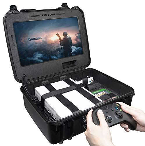 Case Club Wasserdichte Xbox One X/S Tragbare Gaming-Station mit integriertem Monitor und Speicher für Controller und Spiele, Gen 2