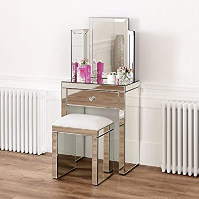 Venetian Mirrored Compact Dressing Table with Mirror and White Stool