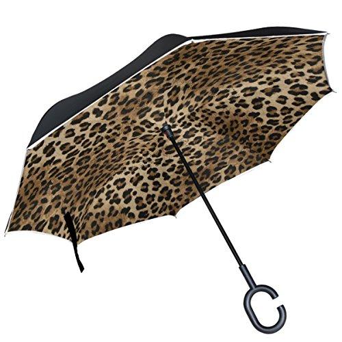 Alaza braun Leopard Muster seitenverkehrt Regenschirm Double Layer winddicht Rückseite Regenschirm