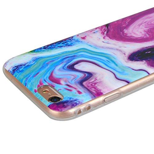 "GrandEver Coque iPhone 6 Plus / iPhone 6S Plus (5.5"") Silicone Gel avec Marbre Motif Design TPU Bumper Vintage Flexible Doux Etui Case Antique Anti-Choc Anti-Rayures Cover Marble Housse --- Rose Bleu"