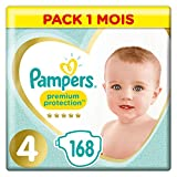 Couches Pampers Taille 4 (9-14 kg) - Premiumn  Protection Couches, 168 couches, Pack 1 Mois