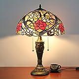 16 pollici rosa rossa Antico di lusso stile Tiffany Lampada da tavolo Lampada da comodino Lampada di Living Room Bar Lamp