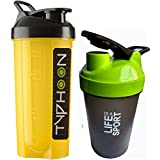 Combo Of 2 (700ml + 500ml) Yellow Typhoon + Green Life Is A Sport Shaker Bottle, Protein Shaker / Sipper / Gym Bottle / Water Bottle / Good Quality Shaker Bottle For Both Men's / Women's / Boy's / Girl's (700 Ml + 500ml) Shaker, Bottle, Sipper Pack Of 2 (