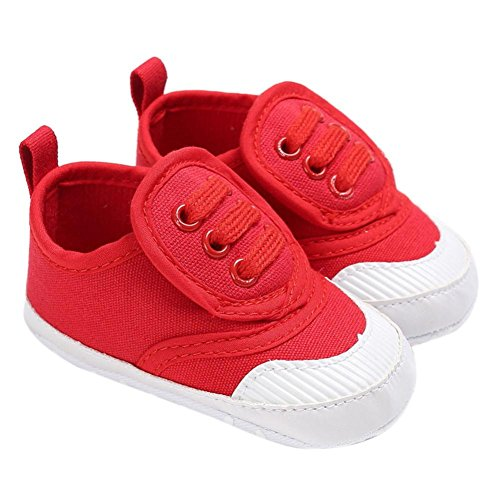 Hunpta abyschuhe jungen Mädchen Neugeborenes Krippe weiche Sohle Schuhe Sneakers (Alter: 6 ~ 12 Monate, Navy) Rot