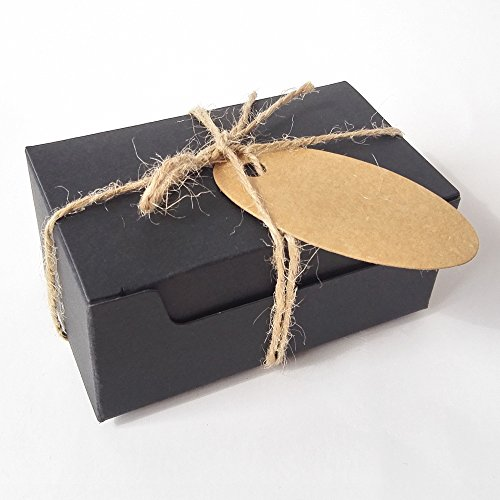50PCS Soap Gift Wrapping Craft Cardboard Kraft Paper Box with Hemp and Tags (Rectangle Black Box With Brown Tags)