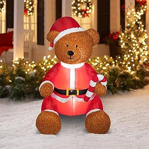 Weihnachten Airblown aufblasbare Teddy Bär mit Fuzzy Plüsch Material, dass Simuliert Haar Outdoor Urlaub Yard Dekoration