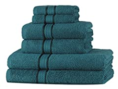 Idea Regalo - SweetNeedle - Set di asciugamani Super Soft 6 pezzi Teal, lussuoso 100% cotone Ringspun, pesante e assorbente con finiture in rayon - 2 grandi asciugamani da bagno 70x140, 2 asciugamani 50x90, 2 panni di lavaggio 30x30 CM