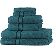 Set asciugamani morbidi SweetNeedle Super Soft 6 pezzi Teal, 100% cotone con rifiniture in