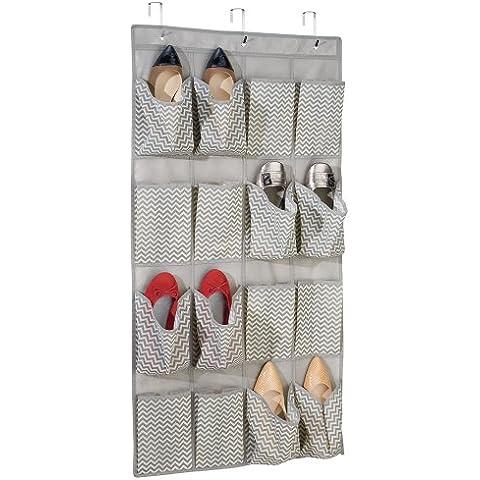 mDesign Chevron Schrank-Organizer aus Stoff für Schuhe, Sandalen, Hausschuhe, Ballerinas - zum Hängen über die Tür, 16 Taschen, Taupe/Natur
