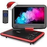 ieGeek 11.5' Lecteur DVD Portable avec Écran Pivotant Rotatif à 270°, Batterie Rechargeable de 5 Heures Jouer, Supporte Carte SD et Compatible avec MP3 / MP4 /RMVB/AVI, pour Enfants- Rouge