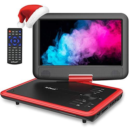 """ieGeek 11.5"""" Lecteur DVD Portable avec Écran Pivotant Rotatif à 270°, Batterie Rechargeable de 5 Heures Jouer, Supporte Carte SD et Compatible avec MP3 / MP4 /RMVB/AVI, pour Enfants- Rouge"""