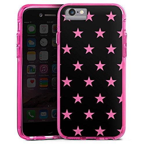 Apple iPhone X Bumper Hülle Bumper Case Glitzer Hülle Stars Sterne Muster Bumper Case transparent pink