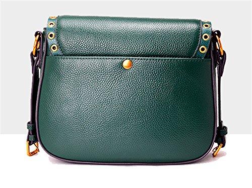 Xinmaoyuan Borse donna borsette in cuoio Round chiodo frange tracolla larga sella borsa tracolla messenger bag,vino rosso Verde