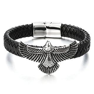 COOLSTEELANDBEYOND Rock Punk Edelstahl Fliegende Adler Herren Armband Schwarz Geflochtene Lederarmband Schweißband
