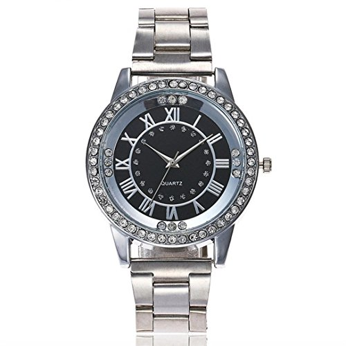 Uhren Dellin Qualität Japanisches QuarzWomen's Herren Kristall Strass Edelstahl Analog Quarz Armbanduhr (Silber)