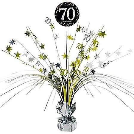 Feste Feiern Tischdeko zum 70. Geburtstag I 46cm Tischaufsteller Kaskade Tischaufsatz Zahl 70 Gold Schwarz Silber…
